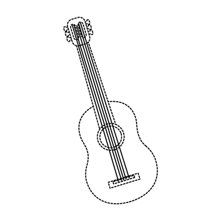 guitar acoustic icon image vector illustration design  black dotted line