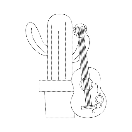 cartoon potted cactus with guitar celebration mexican vector illustration