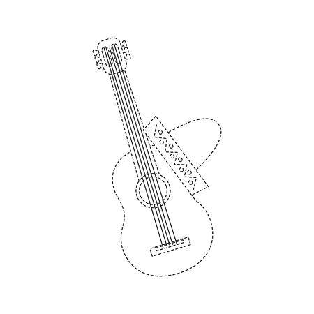 メキシコのギターと帽子の伝統楽器音楽のベクトル図