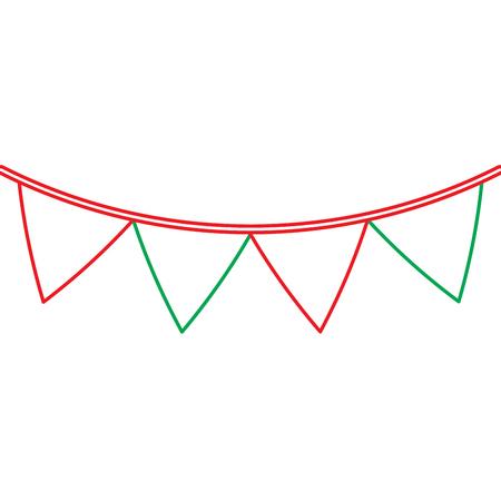緑と赤のガーランド ペナントの装飾お祝い飾りベクトル図  イラスト・ベクター素材