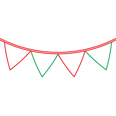 green and red garland pennant decoration festive ornament vector illustration
