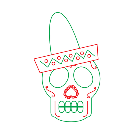 skull in hat day of the dead mexican celebration vector illustration Ilustração