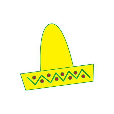 mexican hat carnival costume headdress folklore vector illustration