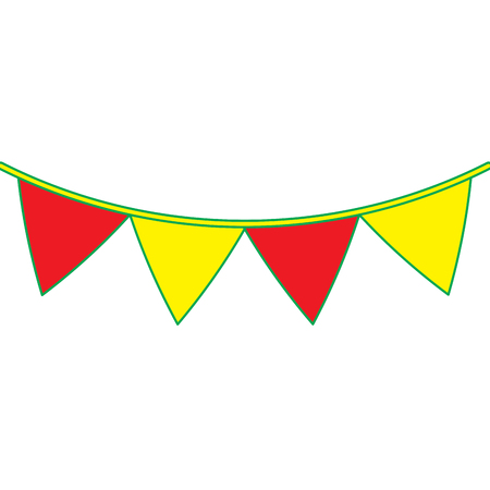 yellow and red garland pennant decoration festive ornament vector illustration