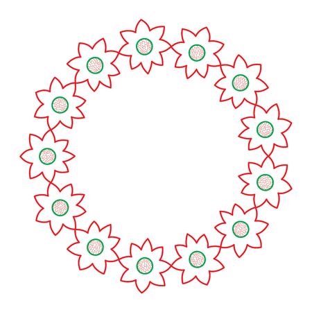 装飾的な花輪花自然飾りベクトル図  イラスト・ベクター素材