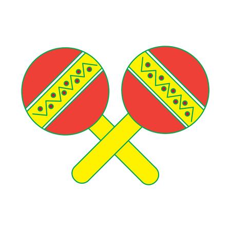 maracas mexicaanse muziek instrument carnaval vectorillustratie viering Stock Illustratie