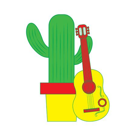 ギターの祭典メキシコ ベクトル イラスト漫画鉢植えサボテン  イラスト・ベクター素材