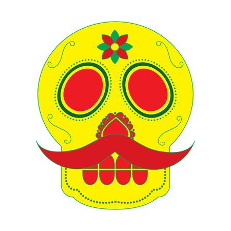 Cranio con i baffi il giorno della morte messicana tradizionale illustrazione vettoriale Archivio Fotografico - 90341839