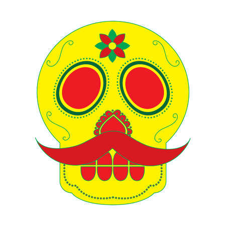 skull with mustache the day of the death mexican traditional vector illustration