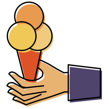 hand with ice cream vector illustration design Illustration