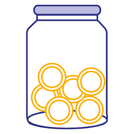 glass jar with coins money vector illustration design Çizim