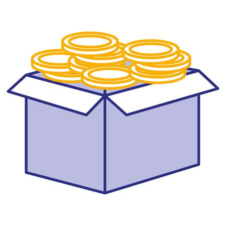 carton box with coins vector illustration design