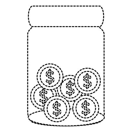 glass jar with coins money vector illustration design Иллюстрация