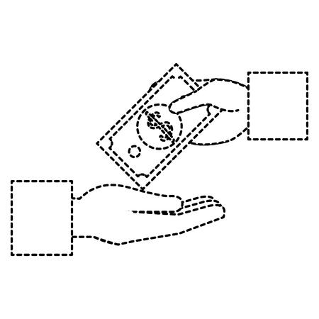 手の人間と紙幣お金アイコンベクトルイラストデザイン  イラスト・ベクター素材