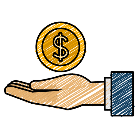 hand with coin money vector illustration design Illusztráció