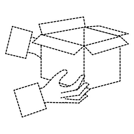 hands with carton box vector illustration design
