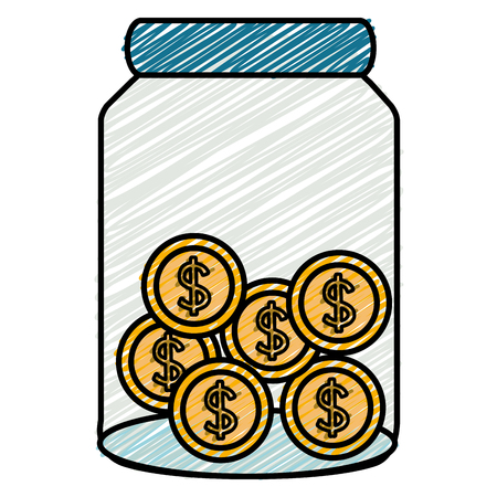 glass jar with coins money vector illustration design Stock Illustratie
