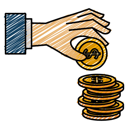 Hand with coin money vector illustration icon flat design