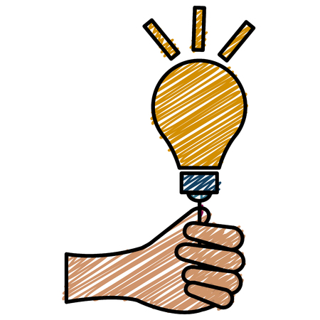 Hand human with bulb light vector illustration icon flat design