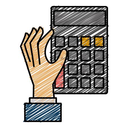 Hand with calculator device flat icon design vector illustration design Ilustração