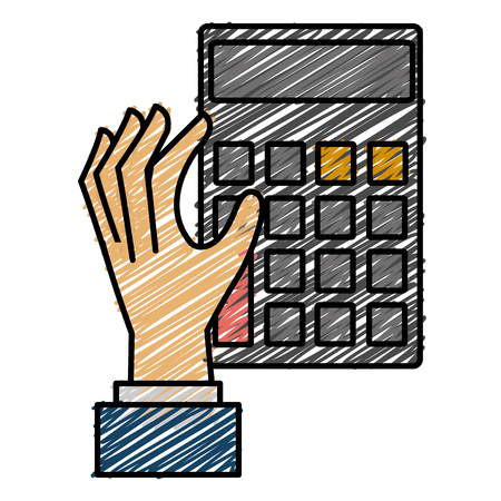 Hand with calculator device flat icon design vector illustration design Illustration