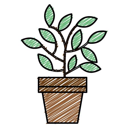 Plant in pot sketch icon flat design vector illustration Ilustração