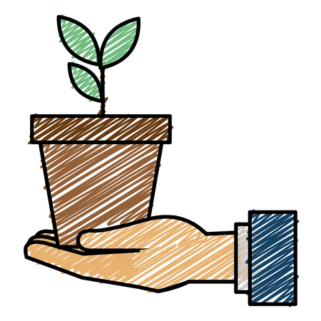 Hand with plant in pot sketch flat icon vector illustration design