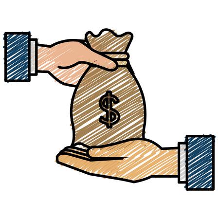 Hand with money bag flat icon vector illustration design Illustration