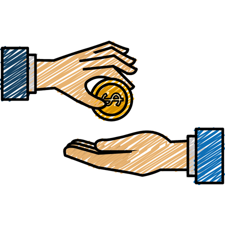 Hands with coin money flat icon vector illustration design Illustration