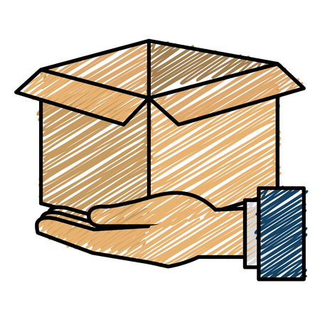 Hands with carton box flat icon vector illustration design Stock fotó - 90411876