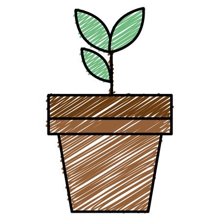 ポットフラットアイコンベクトルイラストデザインの植物