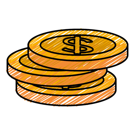 Coin money flat icon vector illustration design