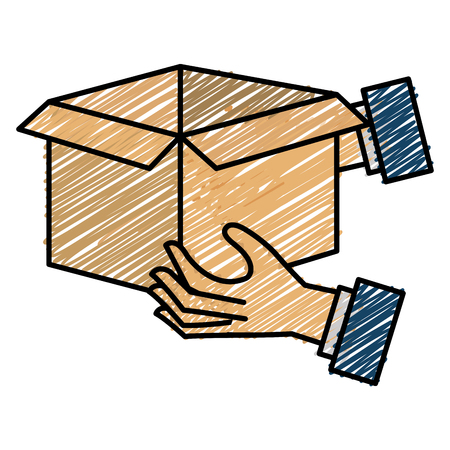 Hands with carton box sketch flat icon vector illustration design