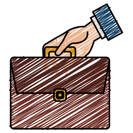 Businessman hand with portfolio briefcase flat icon vector illustration design