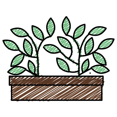 Plant in pot sketch flat icon vector illustration design Stock Vector - 90412237