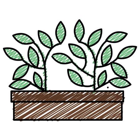 Plant in pot sketch flat icon vector illustration design