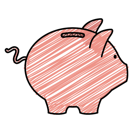 Piggy savings sketch flat icon vector illustration design