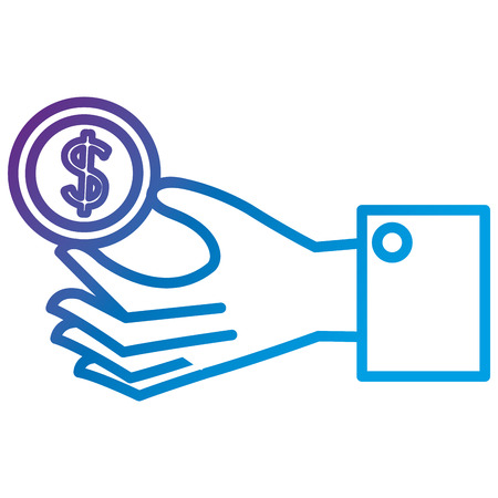 Hand with coin money flat icon vector illustration design