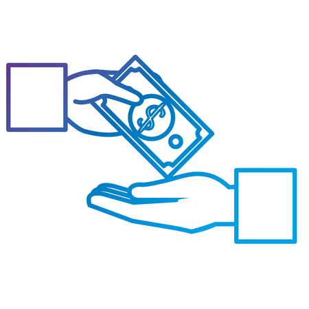 Hands human with bill dollar money flat icon vector illustration design
