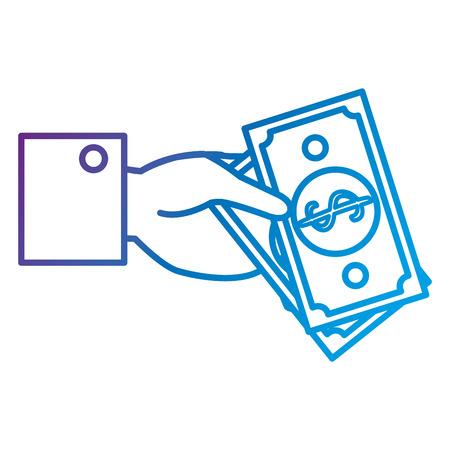Hand human with bill dollar money flat icon vector illustration design