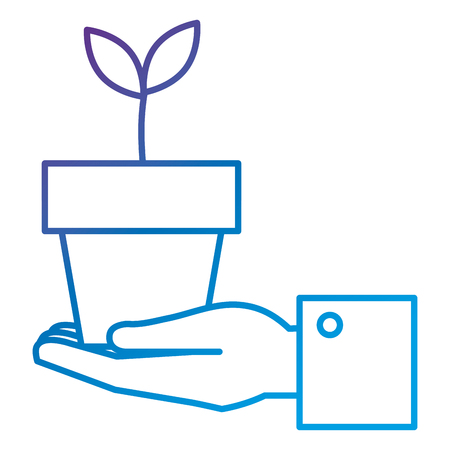 Hand with plant in pot flat icon vector illustration design