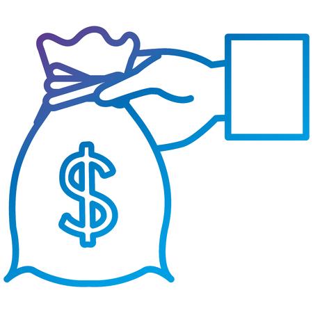 Hand met ontwerp van de het pictogram vectorillustratie van de geldzak het vlakke Stock Illustratie