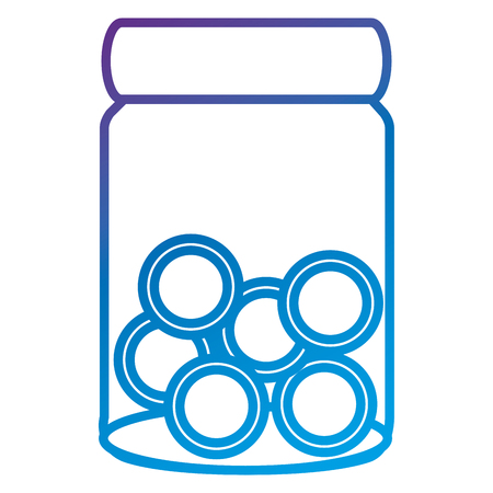 Glass jar with coins money flat icon vector illustration design Çizim