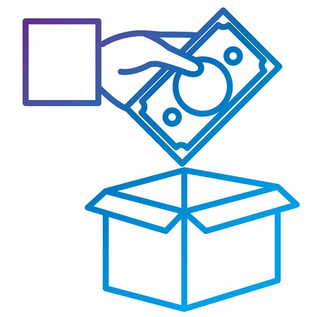 Hand with savings box flat icon vector illustration design