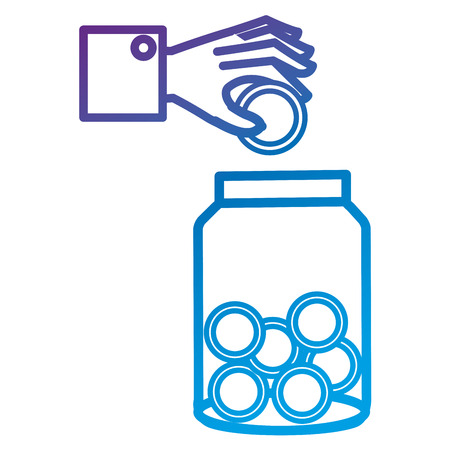 Hand saver with glass jar and coins flat icon money vector illustration design Иллюстрация