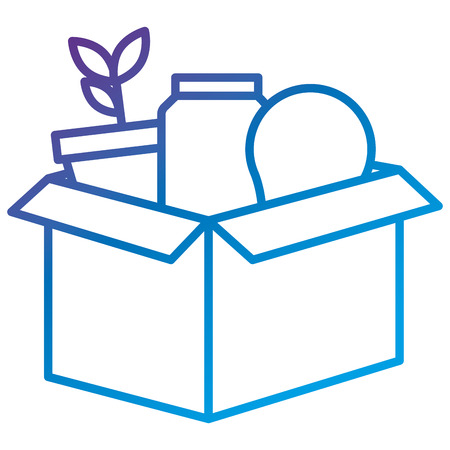 Carton box with bulb and plant flat icon vector illustration design