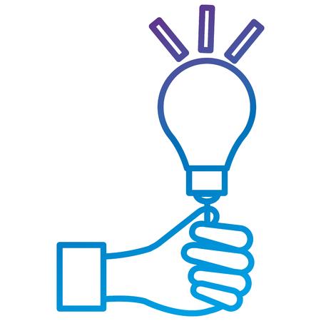 電球光フラットアイコンベクトルイラストデザインで手人間  イラスト・ベクター素材