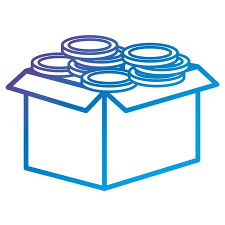 동전 플랫 아이콘 벡터 일러스트 디자인으로 판지 상자