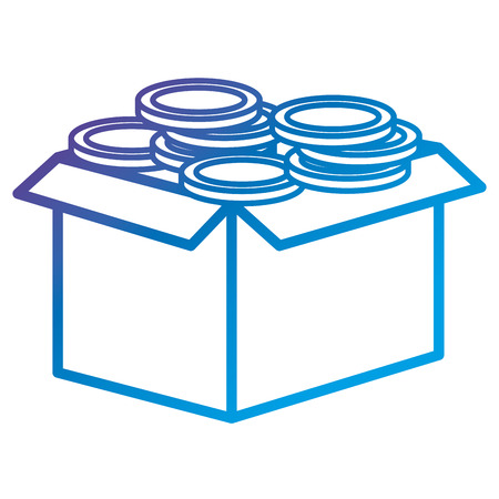 Carton box with coins flat icon vector illustration design