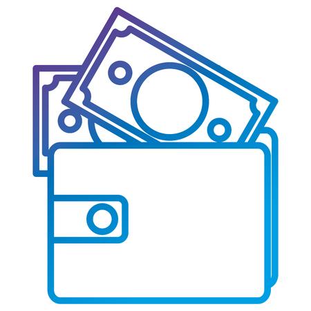 Portefeuille met vlak vector de illustratieontwerp van het rekeningspictogram Stock Illustratie